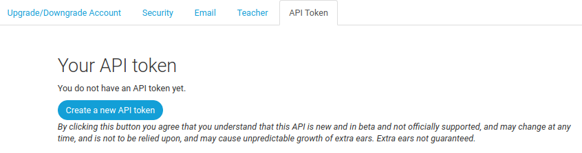 API token not set up